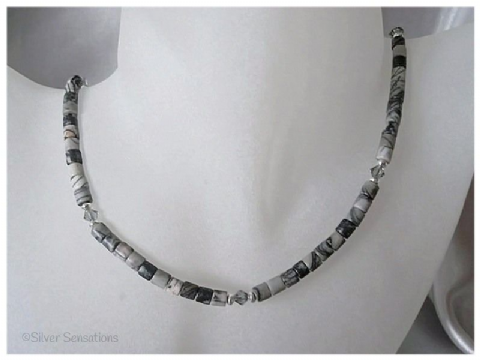 Black Crazy Lace Agate Tubes, Swarovski Crystals & Sterling Silver Necklace